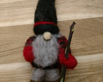 Artsy Woolser Gnome; Woolser Walking Gnome; Needle Felted Original Design Gnome