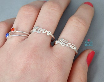 Name Ring / Name Word Ring / Sterling silver name ring / Sterling silver word personalized ring / custom silver ring / gift for girlfriend
