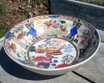 Vintage Imari Style Japanese Dish Fruit Bowl Centerpiece Gorgeous Design