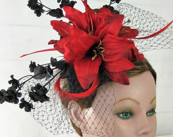 Black Red Flower Birdcage Bow Kentucky Derby Fascinator Hairpiece Headpiece