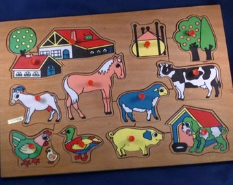 Vintage Wood Peg Puzzle Barn Buildings & Animals, 1970s