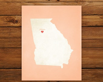 Customized Georgia State Art Print, State Map, Heart, Silhouette, Aged-Look Personalized Print