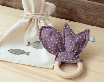 "Natural Wood Teether | ""Peixets"" Lilac"