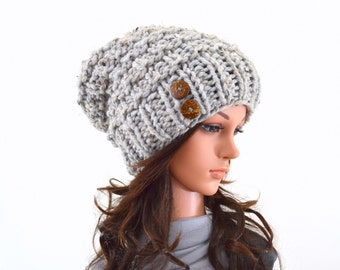 Textured Chunky Slouchy Hat Beanie Toque with Two Natural Coconut Shell Buttons | The Clare