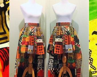 African High Low Skirt, Kente Cloth, African Skirt, Short Skirt, Long Skirt, Patch Work, Maxi Skirt, Orange, Black and White, African Fabric