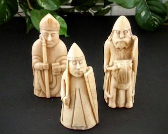 Chess Pieces - Medieval Figurine - Knight Bishop Pawn - Vintage Chess Set - Vintage Chess Pieces - Vintage Chess Game - Medieval Chess Piece