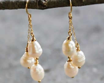 Drop Pearl Earrings Gold Dangle Earrings Pearl Drop Earrings Gold Everyday Earrings Gift for Her under 30 Bridesmaids Jewelry for Wedding