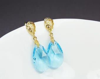 Aqua Blue Crystal Drop Earrings, Bridesmaid Aqua Earrings, Swarovski Aqua Earrings, Aquamarine Earrings, Gold Bridesmaid Earrings