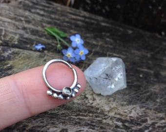 16 gauge Aquamarine Septum Ring / Sterling Silver Septum Jewelry / Handmade Septum Ring / Gemstone Nose Ring / .925