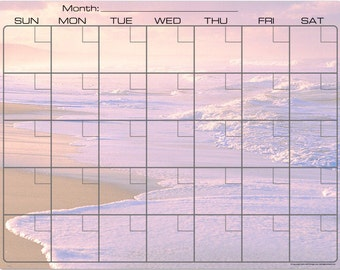 Sandy Beach with Rolling Waves Dry Erase Monthly Calendar Fridge Magnet #2867