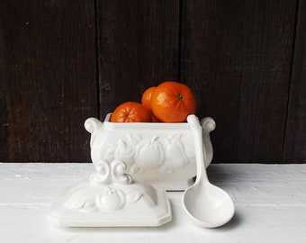 Vintage Tureen with Lid and Ladle -  White Covered Dish - Embossed Fruit Design - Bowl, Lid and Spoon