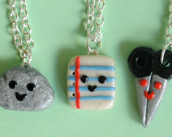 Back to School, 3 Best Friend Necklaces, Rock Paper Scissor Charm Necklaces, BFF Charms, BFF Necklaces