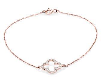 Rose Gold Diamond Bracelet  - Quatrefoil Diamond Bracelet - Simple Diamond Bracelet