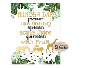 DIGITAL FILE Momosa Bar Sign, Mimosa Bar Sign, Baby Shower , Safari Theme, Wild One, Gold Safari Birthday Party Decor, Safari SA-20