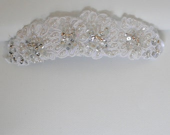 Vintage Ivory lace Headband - hand beaded Swarovski Crystal Ivory sequins glass pearl Tiara  ribbon ties- Made to order - ELSA