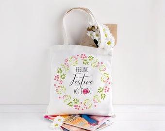 Floral Wreath Christmas Tote Bag, Christmas Tote Bag, Rude Christmas Festive Bag, Christmas Gift Bag, Christmas Gift, Rude Festive Bag