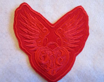 Embroidered Winged Heart Iron On Patch, Winged Heart, Iron On Patch, Biker Patch, Heart Applique, Heart Patch, Flying Heart
