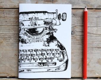 Black Typewriter Unlined Notebook