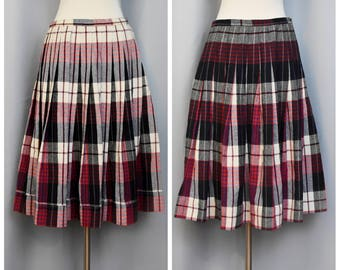 60s Reversible Plaid Pleated Skirt