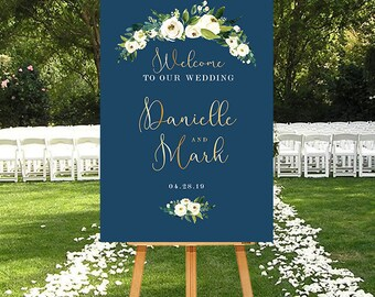 Navy Wedding Welcome Sign, Navy and Gold Wedding Sign, Printable Welcome Sign, Wedding Welcome Sign Navy, Gold and Navy Sign Floral, DIGITAL