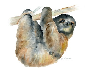 Sloth Watercolor Painting Giclee Print - 7 x 5 - Fine Art