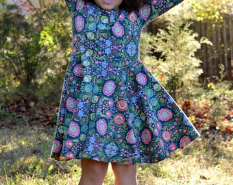 Long sleeve dress for girls - girls twirl dress - girls long sleeve dress - toddler girls dress - twirl dress - girls winter dress