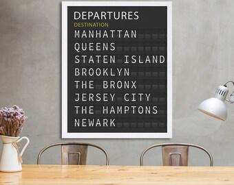 New York City Departure Board Travel Poster Modern Art Print Train Station Board Large Art Five Boroughs The Hamptons Manhattan Brooklyn