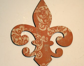 Fleur de lis wall decor, Terra cotta wall decor, French decor, Fleur de lis wall art