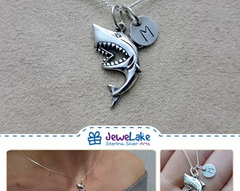 great white shark shark jewelry shark necklace shark charm shark week shark birthday shark party shark pendant Jaws gift shark jaws gift