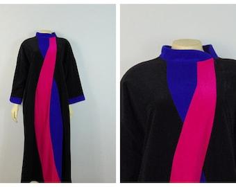 Vintage Vanity Fair Robe Hot Pink & Purple Swirl Full Length Winter Robe Modern Size Petite Modern Medium to Large Petite
