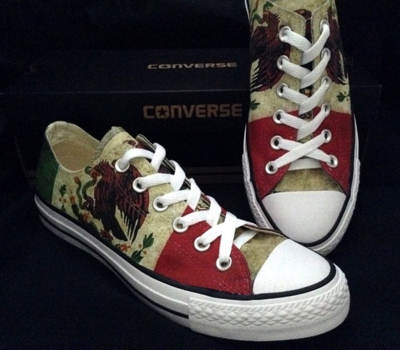 Mexico Flag Custom Converse Low Top Mens Ladies Pride Country Print distressed  w/ Swarovski Crystal Rhinestones Chuck Taylor Sneakers Shoes