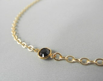 Gold Eyeglass Chain with Black Swarovski Crystals - Gold Glasses Chain - Chain for Glasses - Eyeglass Necklace - Reading Glasses - Links
