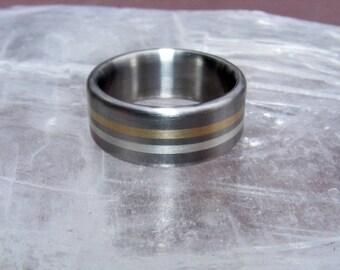 Titanium Solar Lunar Ring Wedding Band