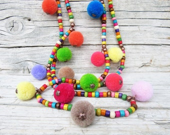 Pom Pom Necklace, Hippie Necklace, Wooden Necklace, Beaded Wood Necklace, Colorful Necklace, Bohemian Jewelry, Wooden Jewelry
