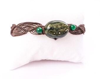 Ocean Jasper macrame bracelet, men's bracelet, macrame bracelet, waterproof bracelet, Boho, natural stones, green stone, Tribal, Ocean, gift