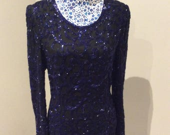 Vintage 1990's black and blue heavily beaded shift top UK size 12