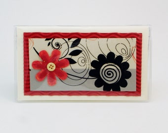 Red and Black Checkbook Cover Debit Receipt Holder Handmade in the USA