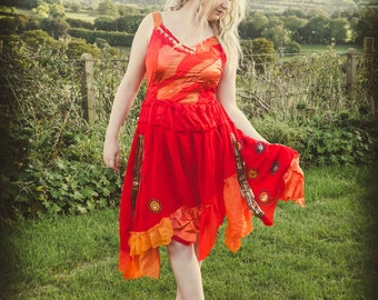 Women's red & orange fairy dress, festival fashion, fire goddess dress, festival clothing, party dress, luxury adult fairy costume