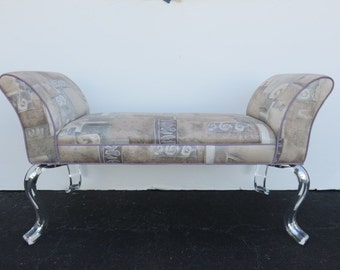 Mid-Century Modern Lucite Bench With A Cotton Blend Fabric.
