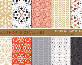 Digital Paper 'Grego' Black, Gold, Red, White and Gray Floral Ornament, Laurel Leaves... Scrapbook, Invitations, Cards...