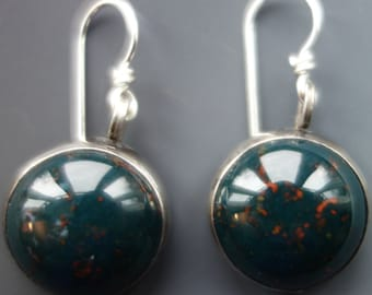 Bloodstone Sterling Earrings