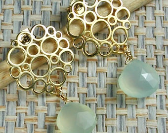 Light Blue with Gold Bubbles Chalcedony Briolette Post Earrings