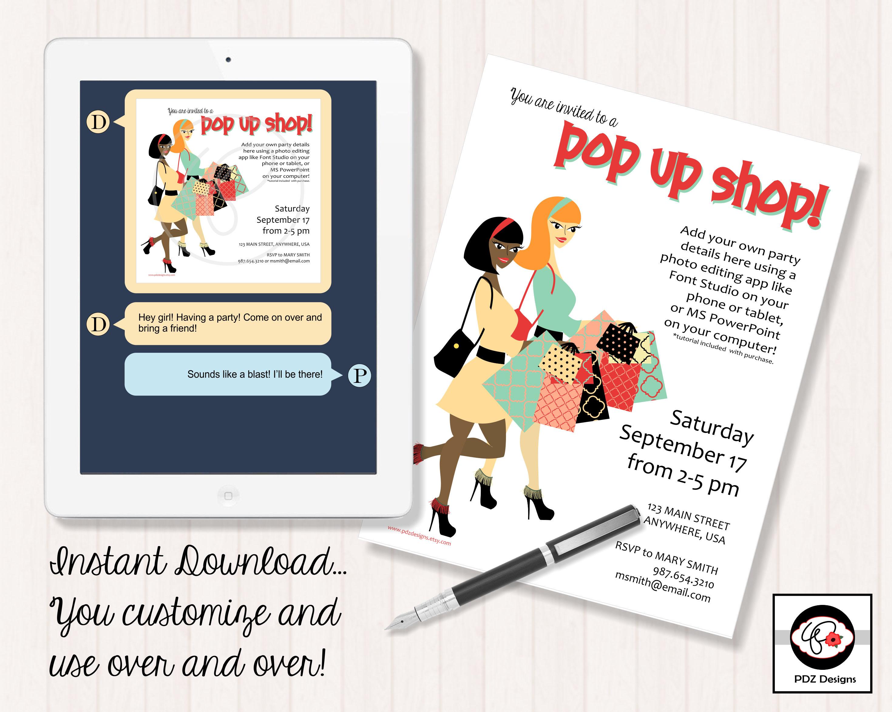 Pop Up Shop Invitation Business Party Invitation Makeup