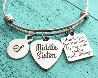 wedding gift for middle sister, brides middle sister gift, sister of the bride gift bracelet, bridesmaid gift sister, bridal gift, Thank you