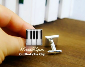 piano cuff links, custom musical instrument cufflinks, customized round or square cufflink & tie clips, pianoforte cuff links, piano keys