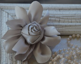 """Satin Fabric Roses, Rolled Rosettes, Silver Satin Rolled Rosettes, 3"""" Satin Roses, Rolled Roses, Rolled Satin Roses, A21"""