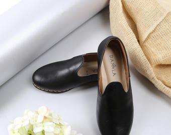 Black Leather Zahir Shoes