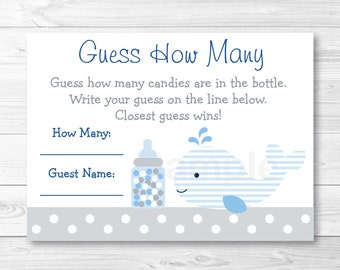 Whale Guess How Many Whale Baby Shower / Candy Guessing Game / Blue & Grey INSTANT DOWNLOAD A309