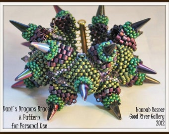 NEWLY RELEASED - Bead Pattern Dani's Dragons (Dragon Scales) peyote beaded Bracelet tutorial instructions by Hannah Rosner