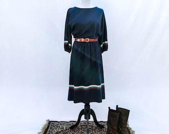Vintage 1970s navy striped bishop sleeve dress
